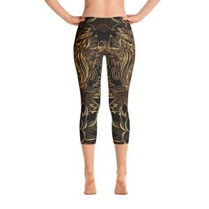 GOLDEN LOTUS OWL Capri Leggings - US FITGIRLS