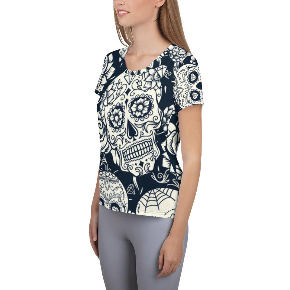 Sugar Skull White Athletic T-shirt - US FITGIRLS