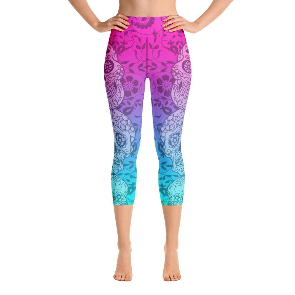 Sugar Skull Ombre Yoga Capri Leggings - US FITGIRLS