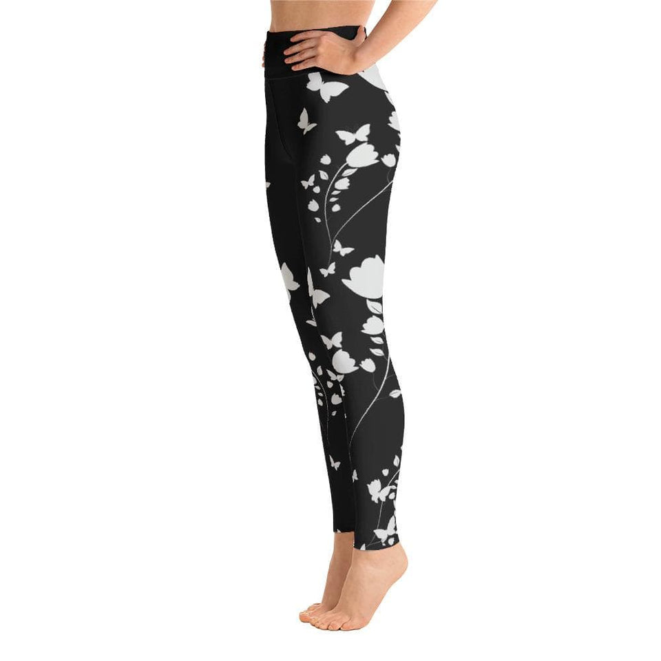 BUTTERFLY AND FLOWERS Yoga Leggings - US FITGIRLS