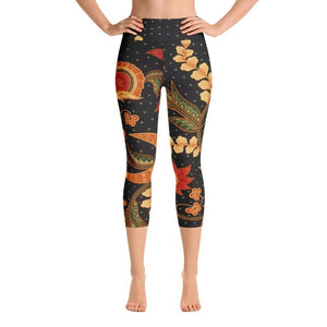 INDONESIAN BATIK Yoga Capri Leggings - US FITGIRLS