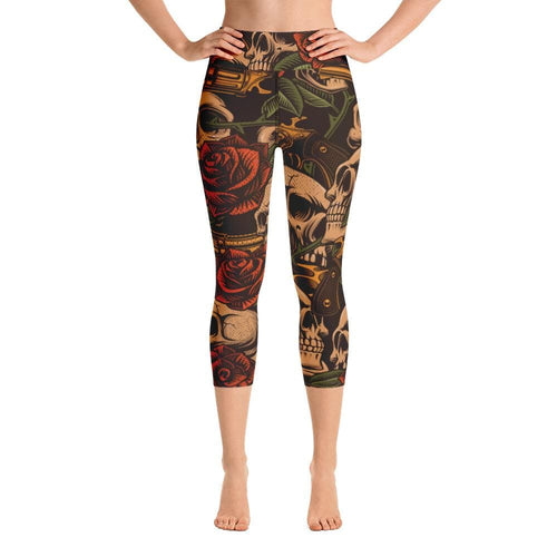 SKULL WITH ROSES Yoga Capri Leggings - US FITGIRLS