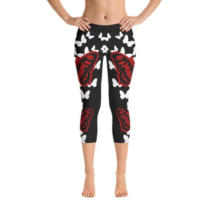 Black BUTTERFLY CAPRI LEGGINGS - US FITGIRLS