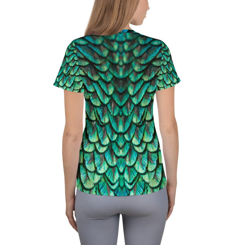 Peacock Feathers Athletic T-shirt - US FITGIRLS