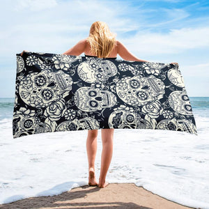 White Sugar Skull Towel - US FITGIRLS