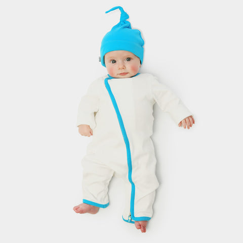 zip-up babygrow set - white & blue