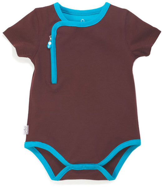 zip-up bodysuit chocolate - Zipit® | Babywear with Zips for Easier Dressing