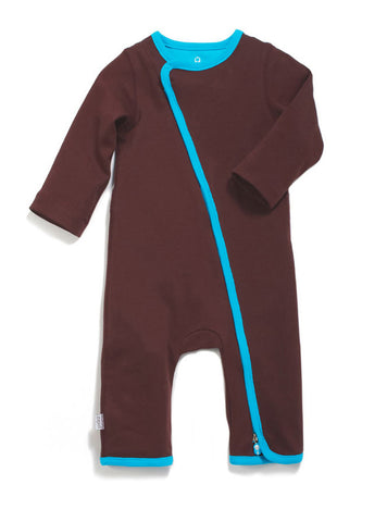 zip-up babygrow chocolate