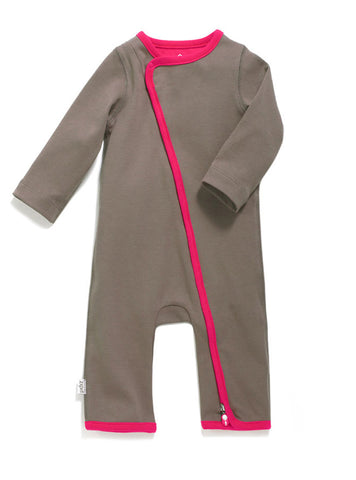 zip-up babygrow pebble grey
