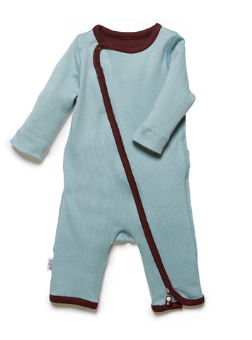 zip-up babygrow surf green