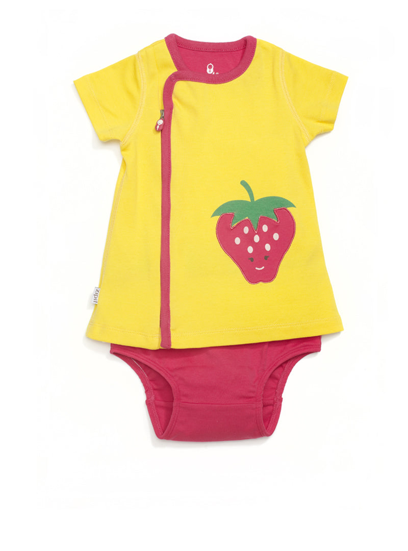zip-up strawberry dress - Zipit® | Babywear with Zips for Easier Dressing