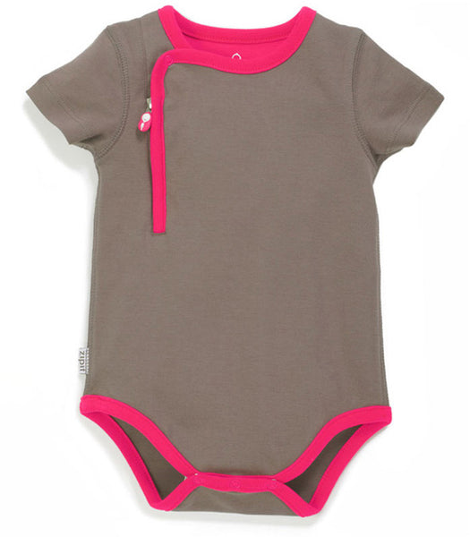 zip-up bodysuit pebble grey - Zipit® | Babywear with Zips for Easier Dressing