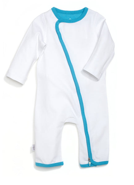zip-up onesie - whites