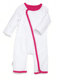zip-up onesie - white & pink
