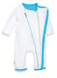 zip-up babygrow set - white & blue - Zipit® | Babywear with Zips for Easier Dressing