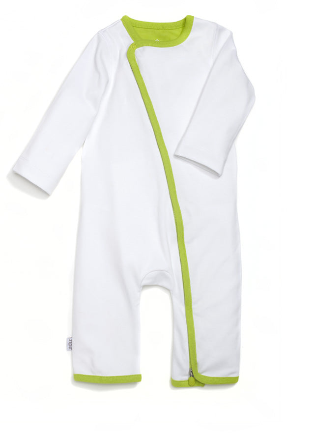 zip-up babygrow set - white & green - Zipit® | Babywear with Zips for Easier Dressing