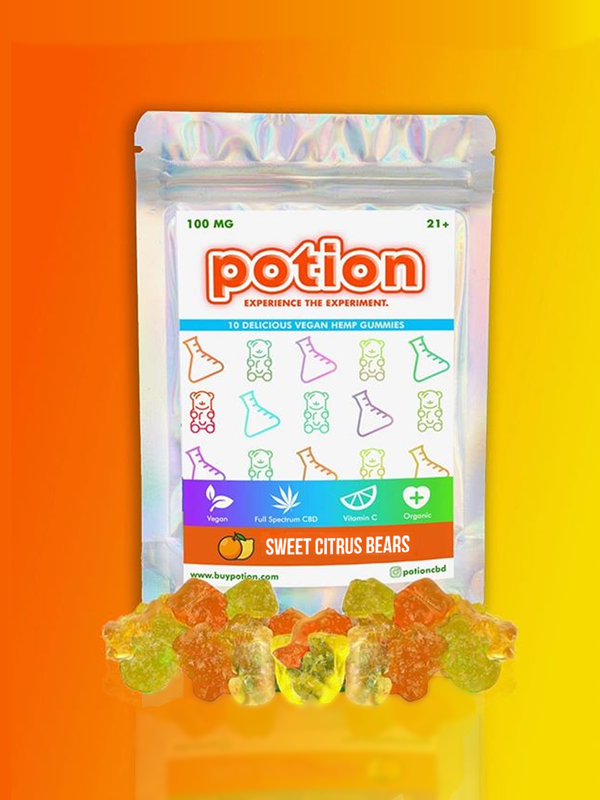Sweet Citrus Gummy Bears (100 MG & Vegan)