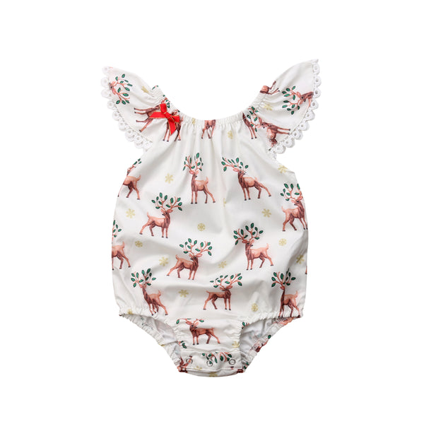 Bilo Cute Baby Girls Xmas Deer Sleeveless Romper Deer Jumpsuit Outfits Clothes Set