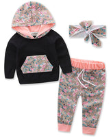 Infant Baby Girl Floral Pattern Long Sleeve Hoodie and Pants 2 pcs Outfit Black+Headband - Bilo store