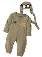 Baby Boy Army Air Force Inspired Long Sleeve Photo Prop Romper