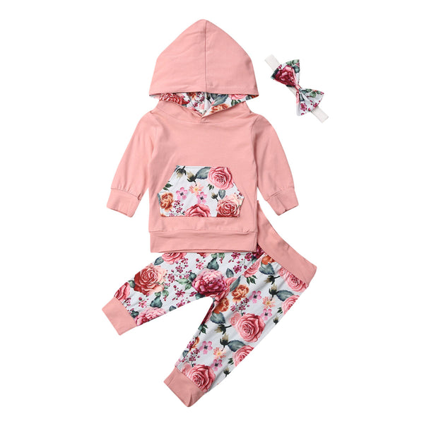 3PCS Newborn Baby Girls Autumn Outfits Long Sleeve Hoodie Sweatshirt Tops Floral Legging Pants