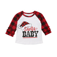 Bilo Cute Baby Girls Christmas Long Sleeve Cotton Santa Baby Ruffle Tops T-shirt Letter Clothes - Bilo store