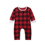 Bilo Baby Unisex Christmas Cotton Long Sleeve Check Romper Jumpsuit Outfits - Bilo store