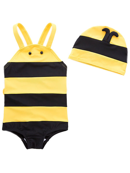 Bilo Baby Girls Bumble Bee Costume Swimsuit and Hat