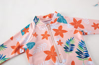 Kid Girls Chic Rash Guard Swimsuit Pool Party Swim Wear Beach Bathing Suit Coral Flowers and Leaves