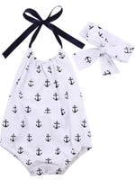 Bilo store Infant Baby Girl Anchor Top with Polka Dots Bloomers Sunsuit Clothing Set