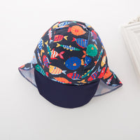 Kid Boys Chic Animals Printed One-Piece Rash Guard with Sun Hat 2pcs Swimsuit Pool Swimwear Beach Bathing Suit Navy Fish