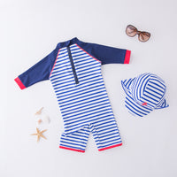 Kid Boys Chic Animals Printed One-Piece Rash Guard with Sun Hat 2pcs Swimsuit Pool Swimwear Beach Bathing Suit Marine Stripes
