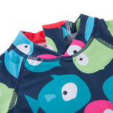 Kid Boys Chic Animals Printed One-Piece Rash Guard with Sun Hat 2pcs Swimsuit Pool Swimwear Beach Bathing Suit Colorful Fishes
