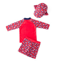 Kid Boys Chic Animals Printed One-Piece Rash Guard with Sun Hat 2pcs Swimsuit Pool Swimwear Beach Bathing Suit Red Shark