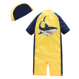 Kid Boys Chic Animals Printed One-Piece Rash Guard with Sun Hat 2pcs Swimsuit Pool Swimwear Beach Bathing Suit Yellow Shark