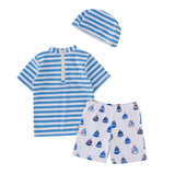 Kid Boys Chic Animals Printed One-Piece Rash Guard with Sun Hat 2pcs Swimsuit Pool Swimwear Beach Bathing Suit sailboat stripes