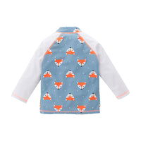 Kid Boys Chic Animals Printed One-Piece Rash Guard with Sun Hat 2pcs Swimsuit Pool Swimwear Beach Bathing Suit Foxes