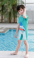 Kid Boys Chic Animals Printed One-Piece Rash Guard with Sun Hat 2pcs Swimsuit Pool Beach Bathing Suit Tiffany Blue Shark