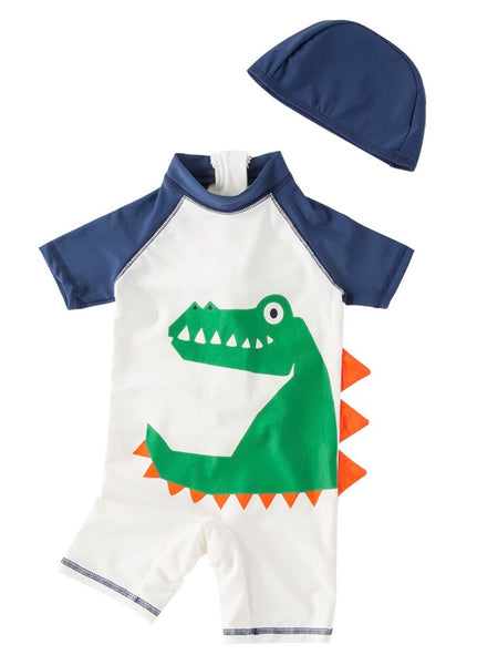 Kid Boys Chic Animals Printed One-Piece Rash Guard with Sun Hat 2pcs Swimsuit Pool Beach Bathing Suit Green Alligator