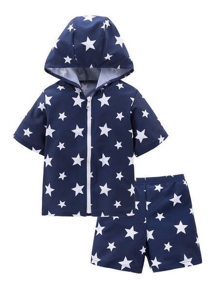 Kids Boys Chic Cartoon Animals Printed Rash Guard with Hat 3pcs Swimsuit Pool Party Swimwear Beach Bathing Suit Blue Stars