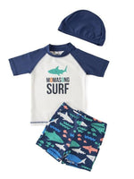 Kids Boys Chic Cartoon Animals Printed Rash Guard with Hat 3pcs Swimsuit Pool Party Swimwear Beach Bathing Suit Momasong Surf