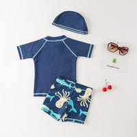 Kids Boys Chic Cartoon Animals Printed Rash Guard with Hat 3pcs Swimsuit Pool Party Swimwear Beach Bathing Suit Octopus