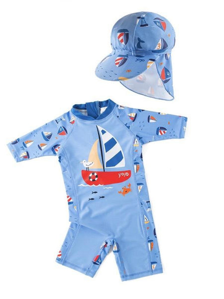 Kid Boys Chic Animals Printed One-Piece Rash Guard with Sun Hat 2pcs Swimsuit Pool Beach Bathing Suit Light Blue Sailboat