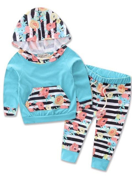 Bilo Infant Baby Girl Floral Pattern Long Sleeve Hoodie and Pants 3 pcs Cotton Outfit Blue and stripes