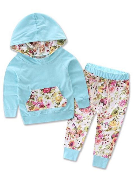 Bilo Infant Baby Girl Floral Pattern Long Sleeve Hoodie and Pants 3 pcs Cotton Outfit White and stripes