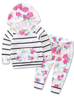 Bilo Infant Baby Girl Floral Pattern Long Sleeve Hoodie and Pants 3 pcs Cotton Outfit White