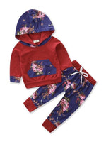 Bilo Infant Baby Girl Floral Pattern Long Sleeve Hoodie and Pants 3 pcs Cotton Outfit Red and blue