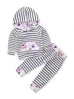 Bilo Infant Baby Girl Floral Pattern Long Sleeve Hoodie and Pants 3 pcs Cotton Outfit