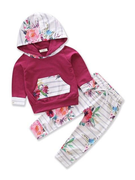 Bilo Infant Baby Girl Floral Pattern Long Sleeve Hoodie and Pants 3 pcs Cotton Outfit Dark Pink