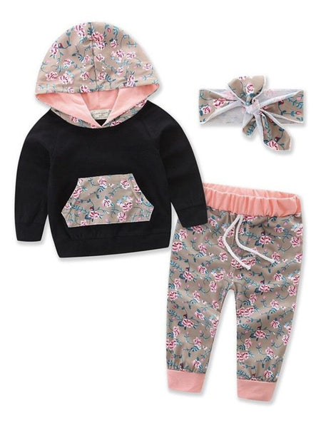 Bilo Infant Baby Girl Floral Pattern Long Sleeve Hoodie and Pants 3 pcs Cotton Outfit Black and Pink Pants
